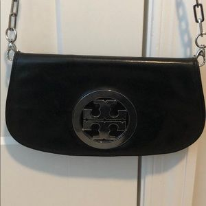 Tory Burch Black Reva Clutch with Silver Chain